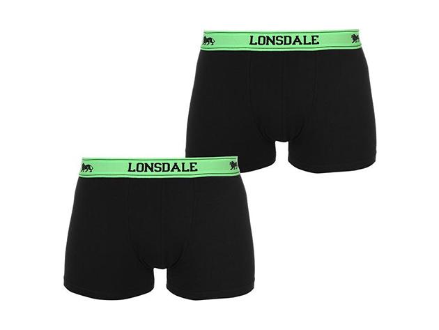 Lonsdale 2db-os férfi boxer csomag - 42201147 fekete/zöld - L