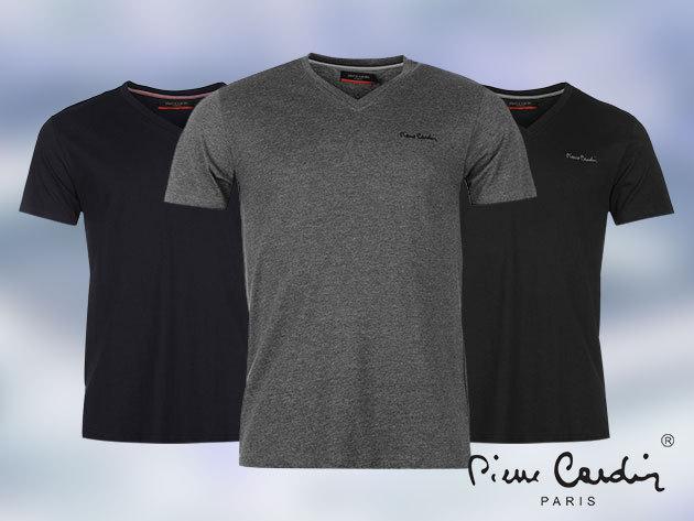 Pierre Cardin férfi póló S-3XL méretben 100% pamut anyagból, V-nyakkal / kék, fekete, fehér és szürke színben