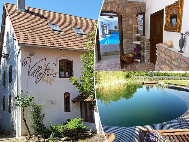 Balatoni szállás és wellness Lesencetomajon, a Villa Fioreban: 3 vagy 5 nap 2 fő részére teljes ellátással, a kényelmes, romantikus, vintage stílusú Lesence-patak partján álló villában
