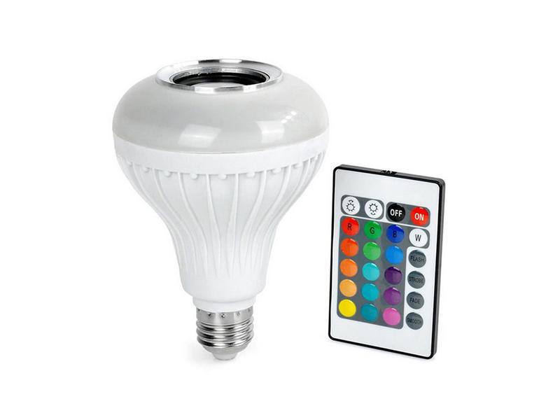 Hangszórós izzó (E27) partikellék távirányítóval, Bluetooth-szal, RGB színskála és villogó disco mód