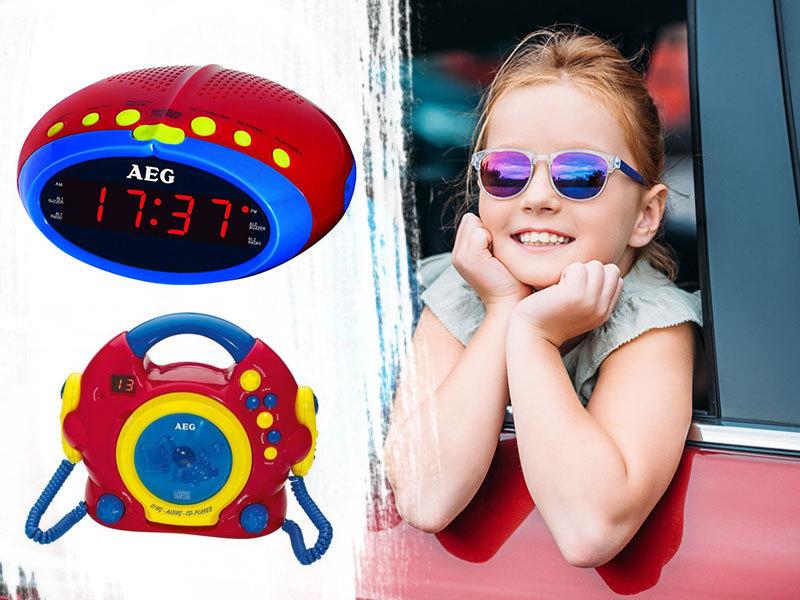 AEG KIDS LINE karaoke CD-s rádió mikrofonnal és rádiós ébresztőóra gyerekeknek