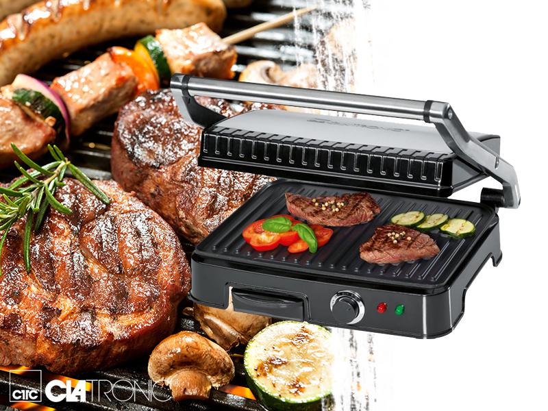 Clatronic kontakt grill készülékek: KG3487 teflon bevonattal vagy KG3571 kerámia bevonattal / pecsenyék, halak vagy zöldségek, egyéb húsok sütésére és grillezésére