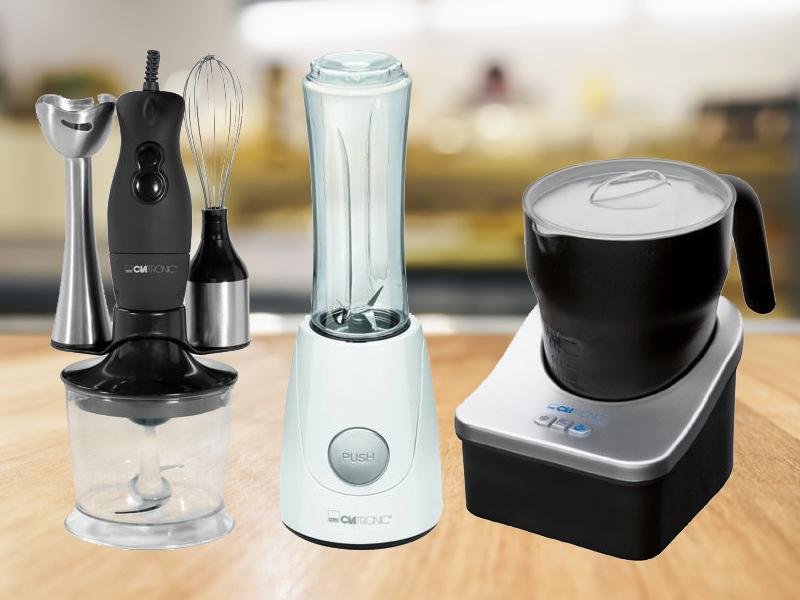 Clatronic konyhai kiegészítők: kávéfőző és daráló,  profi tejhabosító-forró csoki készítő, konyhai digitális mérleg, mixerek és smoothie készítő