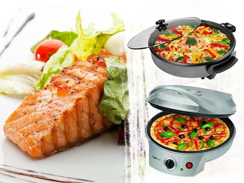 Clatronic PP2914 és PP3402 elektromos serpenyő 2 méretben és PM3622 pizzasütő tapadásmentes bevonattal - süss, főzz, párolj!
