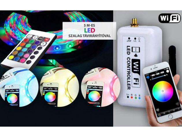 LED Remote Controller Wifi - állíthatod a fényerőt, a színt, továbbá fényjátékot is beállíthatsz segítségével