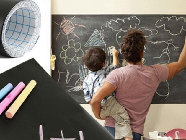 Öntapadós táblamatrica - krétával írható fekete fólia 45 x 200 cm-es méretben (Blackboard sticker) - dekorálj kreatívan!