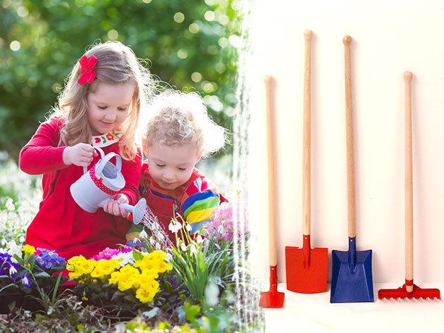Kerti szerszámok gyerekeknek: ásó, kapa, lapát, gereblye és lombseprű edzett acélból, fa nyéllel