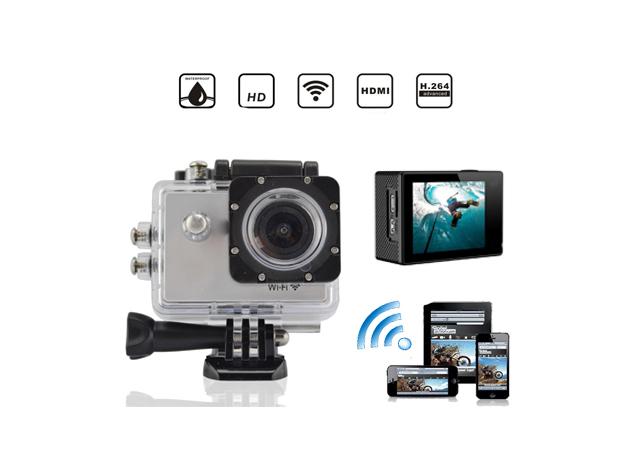 Wifi-s akciókamera vízálló tokkal - HD minőség, rögzítő adapterek