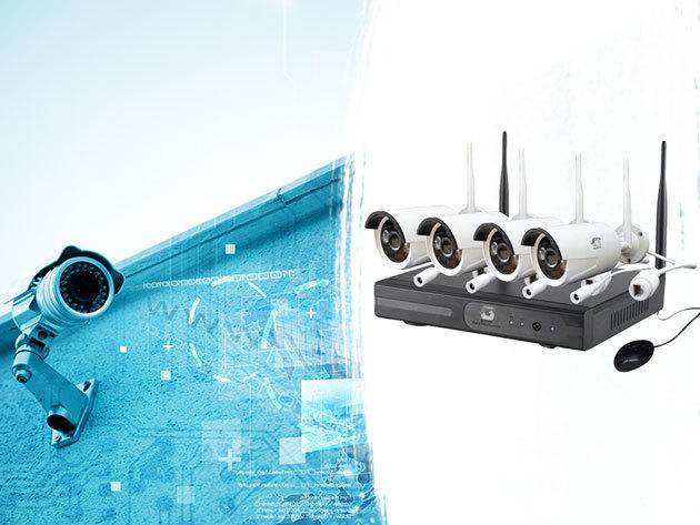 Biztonsági rendszer 4 db éjjellátó kamerával, WIFI kapcsolattal, 4 csatornás NVR videó felvevővel, tápegységgel - Tudd biztonságban otthonod!