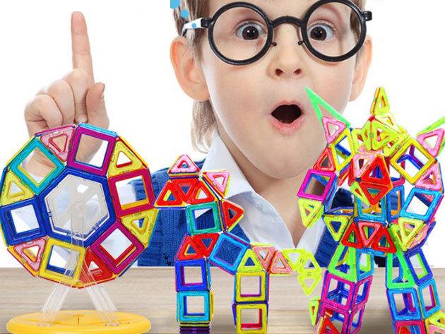 Mágneses építőjáték gyerekeknek / Magical Magnet - fejleszti a kreativitást, kikapcsol, számtalan alakzat kirakható