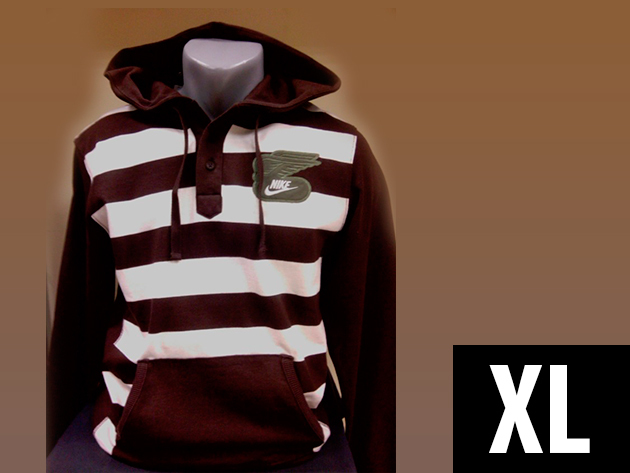 Nike Rugby férfi kenguruzsebes, kapucnis barna-fehér felső (XL)