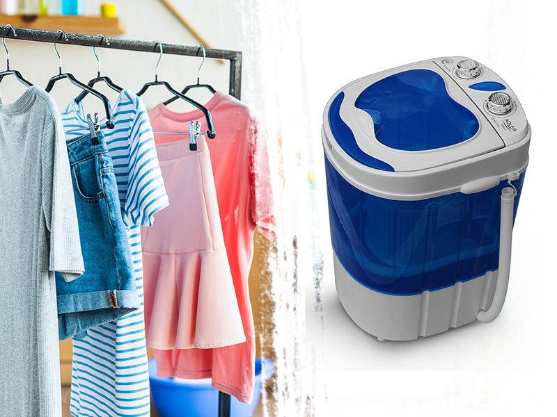 ADLER hordozható mini mosógép és centrifuga kempingezéshez, nyaralóba / 580W, kék színben