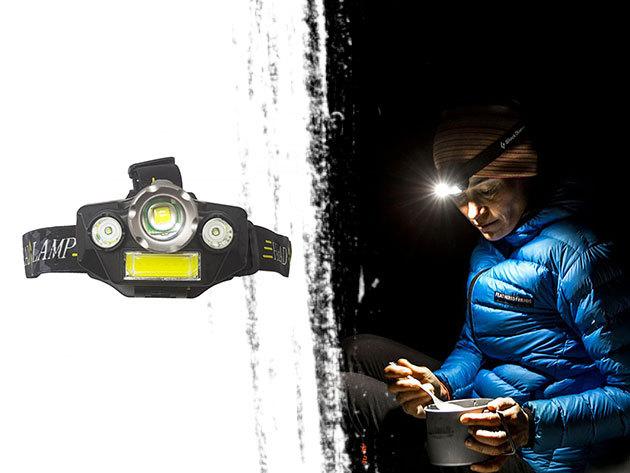 Fejlámpa 4 LED-del, extra erős fénnyel: ideális túrázáshoz, kempingezéshez, kerékpározáshoz is