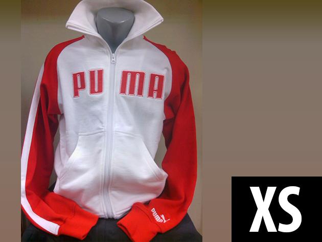 Puma férfi cipzáros, kenguruzsebes fehér-piros felső (XS)