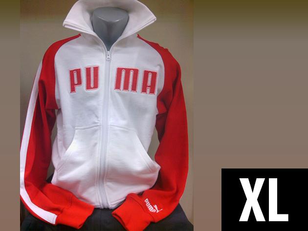 Puma férfi cipzáros, kenguruzsebes fehér-piros felső (XL)