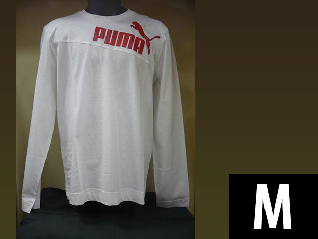 Puma hosszú ujjú férfi fehér póló, gumis Puma logoval (M)