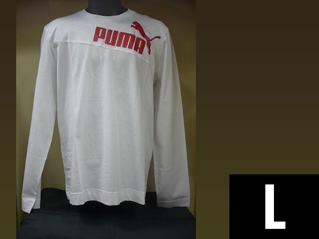 Puma hosszú ujjú férfi fehér póló, gumis Puma logoval (L)