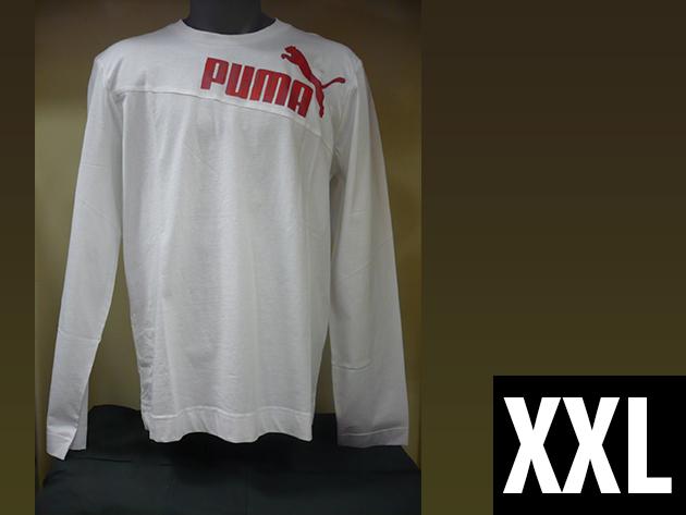 Puma hosszú ujjú férfi fehér póló, gumis Puma logoval (XXL)