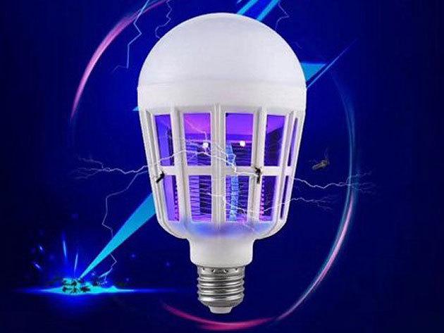 Szúnyogirtó LED izzó (15W), rovarcsapda- E27 foglalatba csavarható, füst és méreg nélkül dolgozik, így nem káros az egészségre