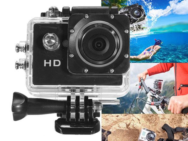 Sportkamera / akciókamera - HD felbontás, 170 fokos nagylátószög, vízálló tokkal és még számos kiegészítővel