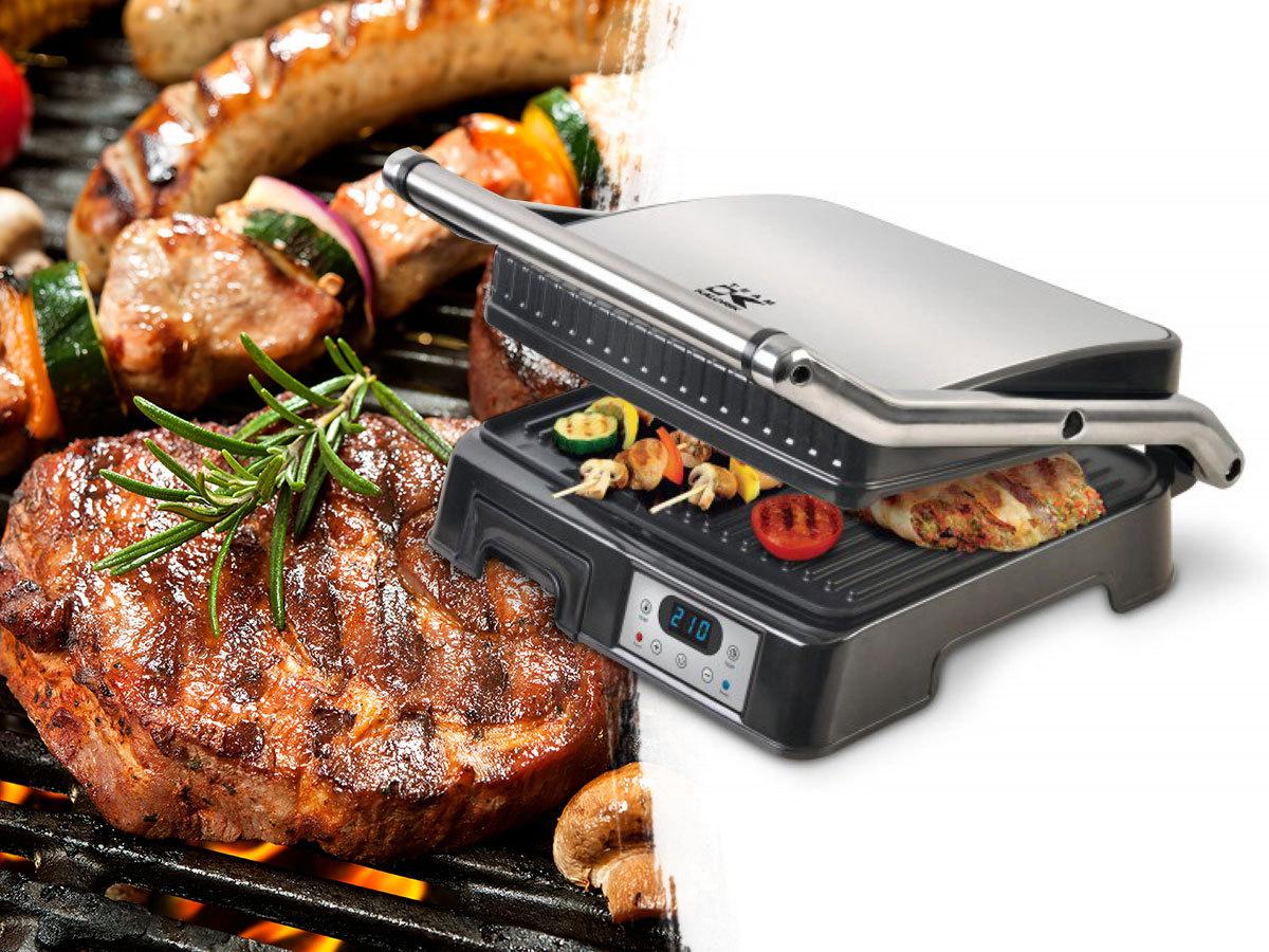 KALORIK kontakt grillsütők tapadásmentes bevonattal, bordázott lapokkal és akár zsírgyűjtő tálcával - kerti parti hangulat, akár az erkélyen is