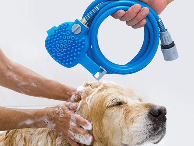 Kisállat fürdető eszköz - Pet Bathing Tool / kül- és beltérre egyaránt ajánlott, csapra szerelendő, puha, sörtés masszázsfejjel rendelkezik