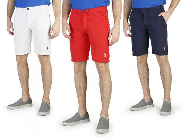 U.S. POLO ASSN. férfi shortok 100% pamut anyagból fehér, piros és kék színben, 31-36 méretben