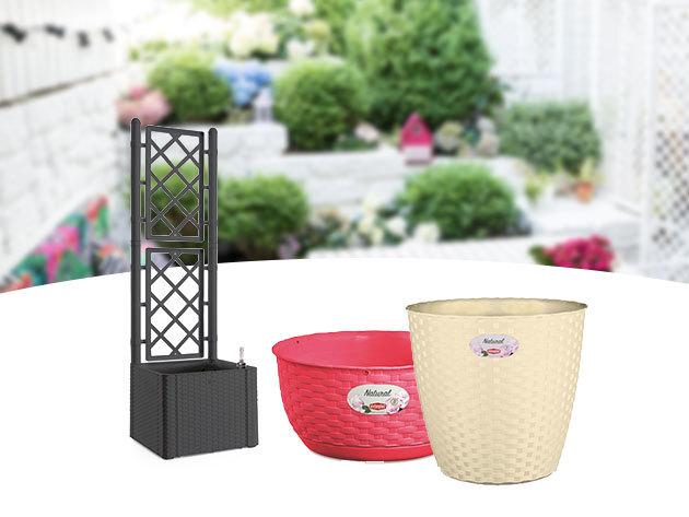 Rattan kerti kiegészítők: virágláda, szemetes, futtatórács, virágtál - időjárásálló és esztétikus műanyag termékek