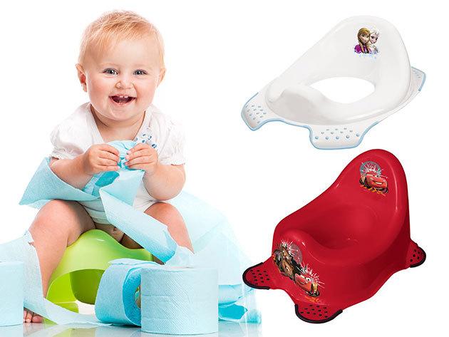 Háztartás kellékek babáknak és kisgyerekeknek Disney mintákkal: bili, wc szűkítő, fellépő, kád, fürdőszék