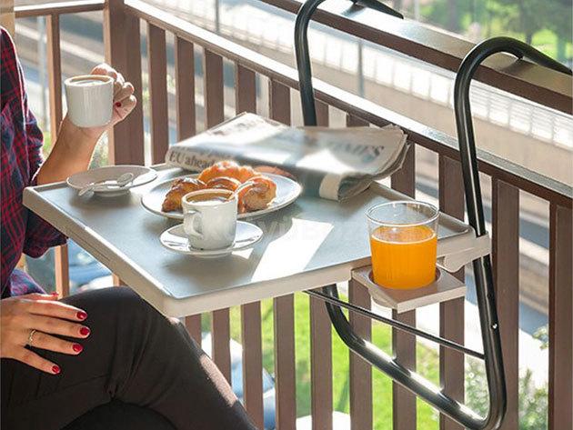 Erkélyre akasztható asztal 52 x 39 cm - állítható magasság és dőlésszög, kis tárolóval