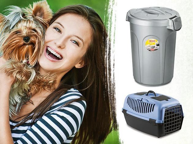 Házi kedvenc hordozó, táptároló, etető, toalett - különböző méretű kiegészítők kutyáknak, macskáknak
