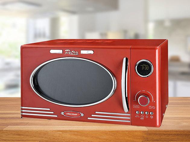 Kalorik retro mikrohullámú sütők: 25 literes, 1000W teljesítménnyel piros vagy vajszínben