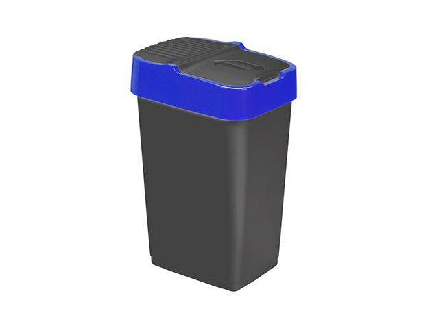 Billenős, Szemetes, 33x26x51 cm, 35 L, push up, fekete-kék - 01HTI-401343-2
