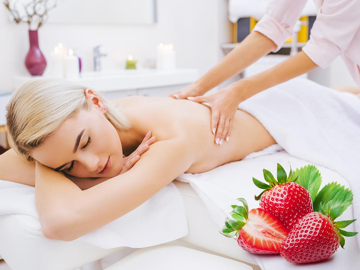 Aromaolajos wellness masszázs és bőrfiatalító testradírozás, frissítő, légiesen könnyed, édes eper illattal hölgyeknek 60 perc / III. ker.