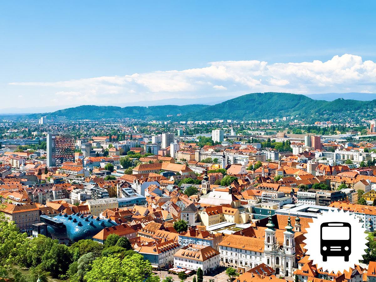 Graz, buszos utazás - városlátogatás és Ausztria legnagyobb szabadtéri néprajzi múzeumának felfedezése Stübingben / fő