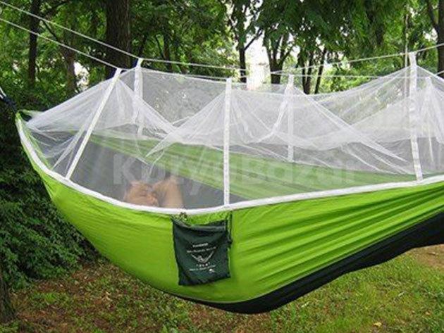 Szúnyoghálós függőágy, rögzítő kötéllel (1 személyes) - felállítása gyors, egyszerű, kellemes pihenést biztosít a szabadban...