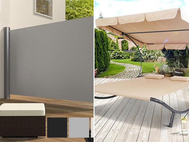 Kétszemélyes napozóágy árnyékolóval és kihúzható árnyékoló fal több színben - a nyugodt kerti pihenéshez
