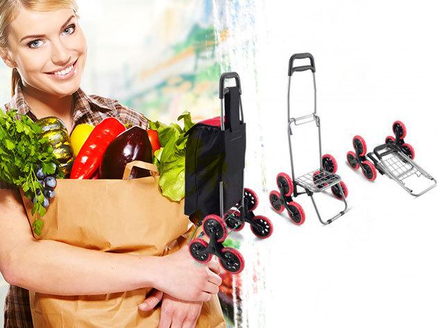 Gurulós bevásárlókocsi 'lépcsőjáró' kialakítással - kezdődhet a bevásárlás, irány a piac!