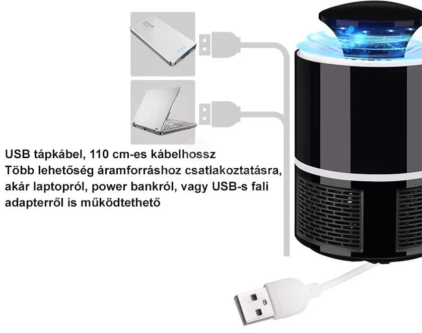Elektromos szúnyogirtó lámpa - vegyszermentes, ízléses dizájn - Fekete