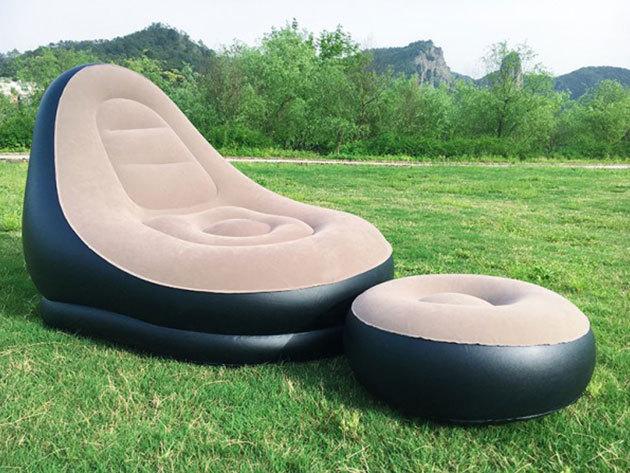 Felfújható fotel lábtartóval otthonra, nyaralásra, strandoláshoz, 120 kg teherbírással, masszív kialakítással