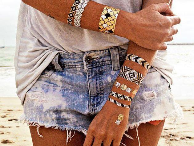Arany és ezüst öntapadós tetoválás 70 db-os csomagban / nyári partikra és fesztiválokra