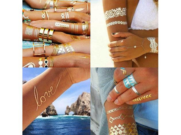 Arany és ezüst öntapadós tetoválás 70 db-os csomagban