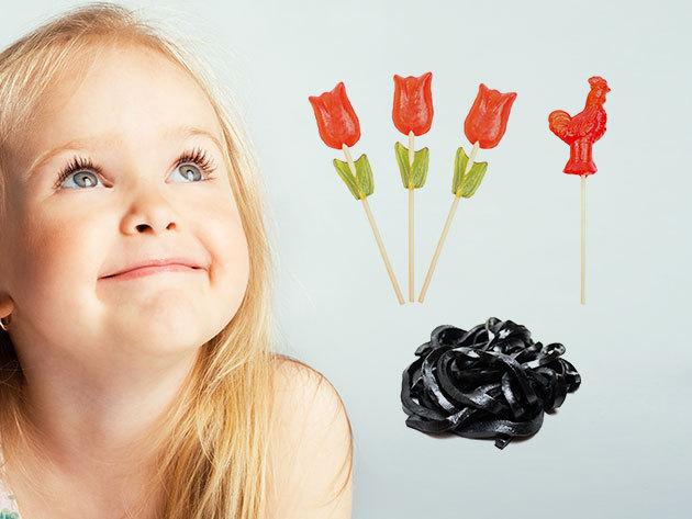 Retro standélmény csomag: kakasos, szív és tulipán nyalókák, csavart és medve cukrok édesszájúaknak