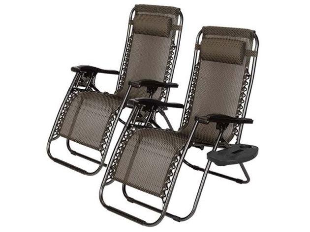 2 db Zéró gravitáció kerti szék, ajándék pohártartóval  - HOP1000830