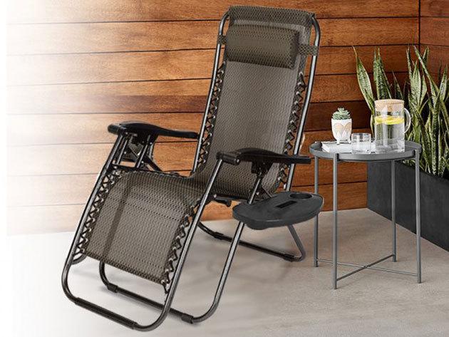 Zéró gravitáció kerti szék szett (2 db), ajándék pohártartóval vagy asztallal / akár 2 személyes változatban is- extra kényelem merevítők nélkül, masszív kialakítással