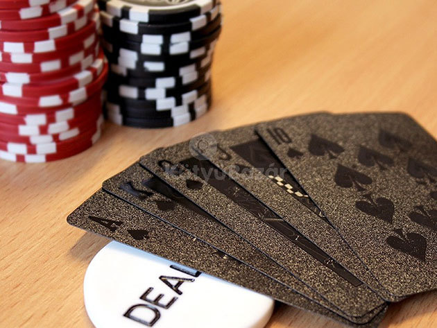 Luxus póker kártya pakli- fekete