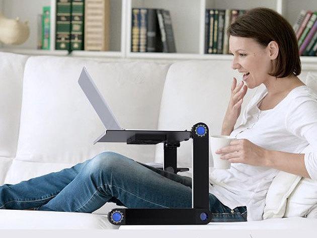 Laptoptartó állvány, mely több ponton állítható - fekvő, ülő és álló testtartásban is használható, irodai és otthoni munkavégzésre