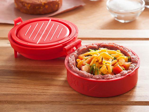 Stufz hamburger press forma töltött húspogácsákhoz is, és 'Húspuhító konyhamester' saválló nemesacél tűkkel, rugós fejjel!