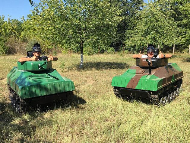 Paintball Mini Tank vezetés, párbaj és csata csomagok csapatoknak a gyáli Motocross pályán