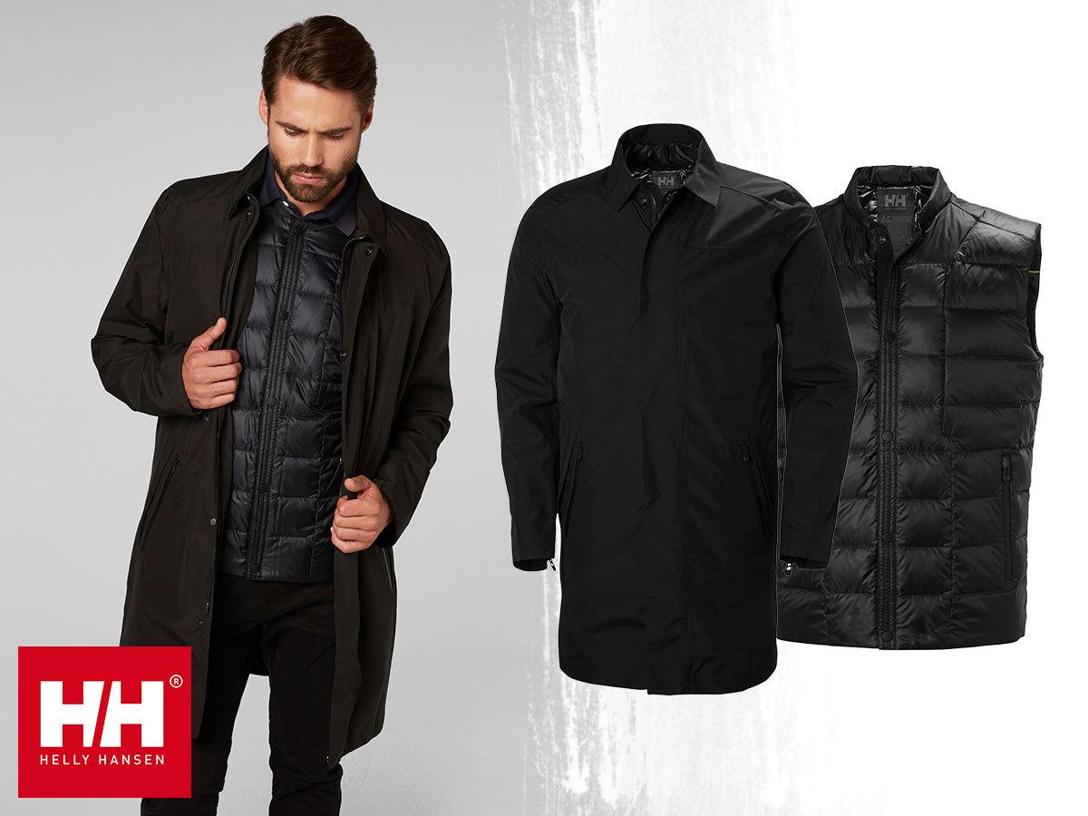 Helly Hansen ASK BUSINESS COAT prémium férfi kabát elegáns megjelenéssel, technikai megoldásokkal - kivételes védelmet biztosít az eső és a szél ellen (S-XXL)